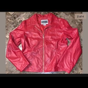 Womens Red Faux Leather Jacket Size Large